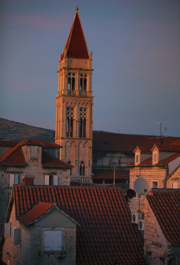 Bell Tower in Trogir at dusk