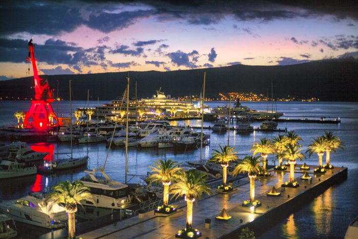 Evening in the yacht marina