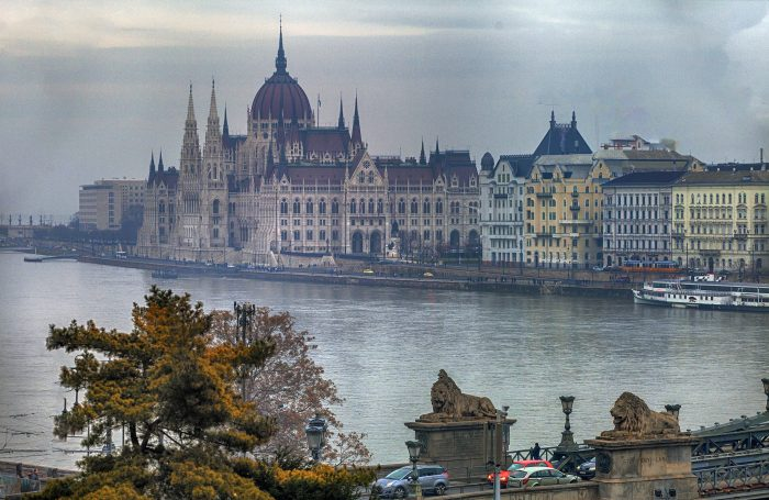 Parliament from across the Danube river