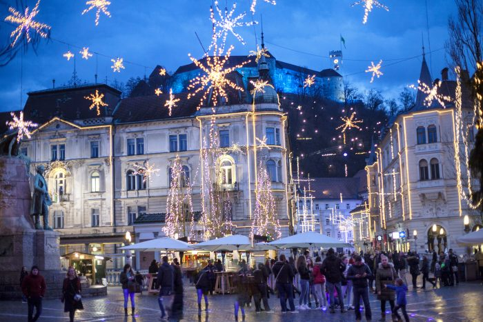 Downtown Ljubljana all dressed up for Advent