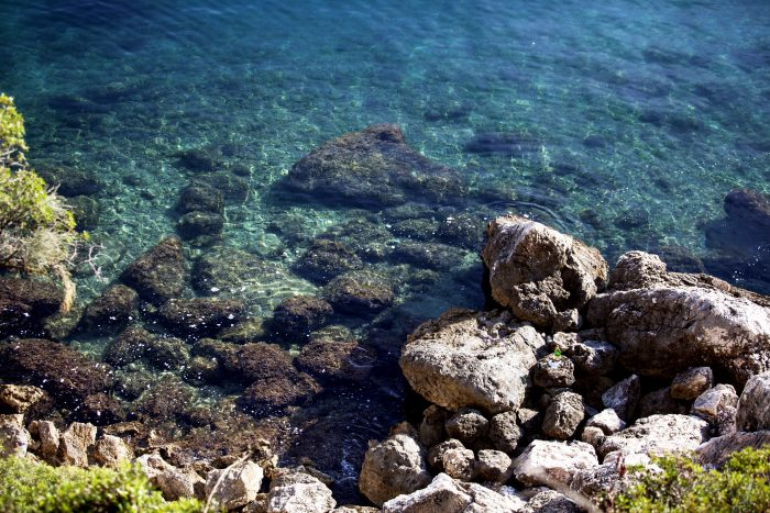 Clear blue waters off of Ciovo island